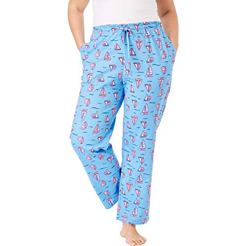 Dreams & Co. Women's Plus Size Knit Sleep Pant - Baby Blue Boat, 1X