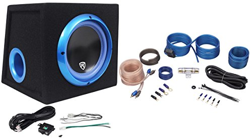 "Rockville RVB8.1A 8"" 300W Powered Amplified Car Subwoofer System+Remote+Wire Kit"