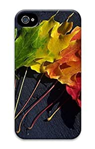 3D PC Case Cover for iPhone 4 Custom Hard Shell Skin for iPhone 4 With Nature Image- Fallen leaves