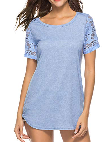 (Koitmy Women's Lace Short Sleeve Round Neck T-Shirt Casual Blouse Tunics Tops Light Blue)