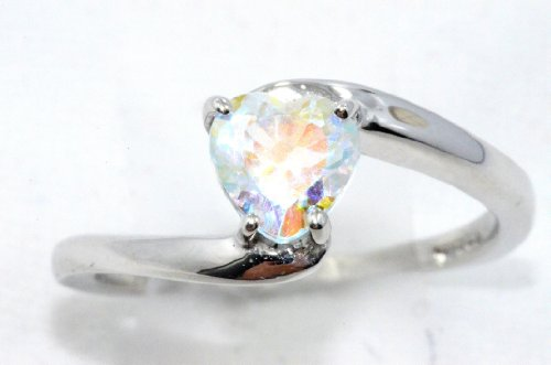 Elizabeth Jewelry Natural Mercury Mist Mystic Topaz Heart Ring .925 Sterling Silver Rhodium (Mystic Topaz Heart)
