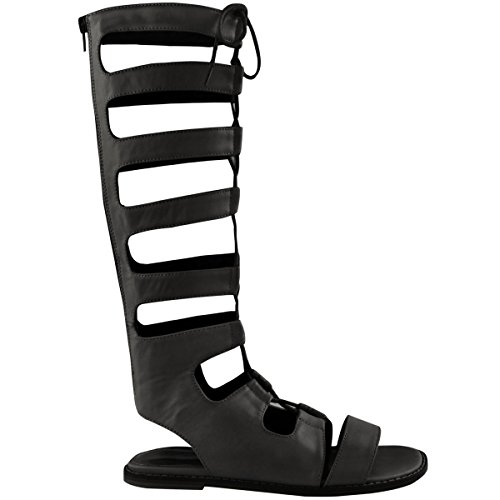 Fashion Thirsty Womens Ladies Knee High Cut Out Lace Up Flat Sandals Gladiator Summer Shoes Size 10