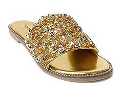 Glitter Bling Slide Flat Low Wedge Gold Sandal