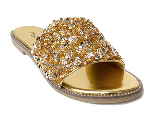 - H2K Womens Glitter Bling Jewel Stone Fancy Slide Flat Low Wedge Sandals Shoes Dream (6 B(M) US, Gold)