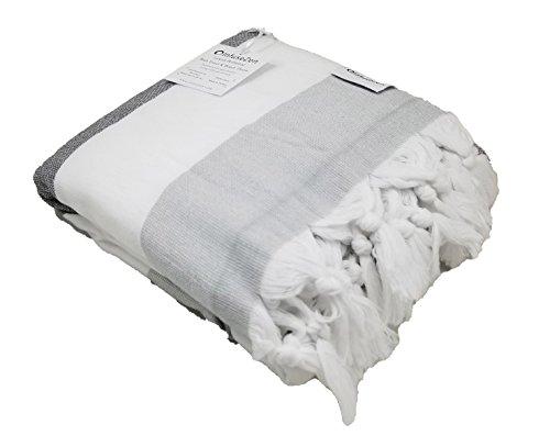 Soft Terryback Large Turkish Towel - Striped Terry Backed Peshtemal Bath Towel, Gym & Beach Towel, Thin Oversized Hammam Towel, Plus Size Fouta, Blue, Beige, Pink, Green, Grey (Shades of Grey)