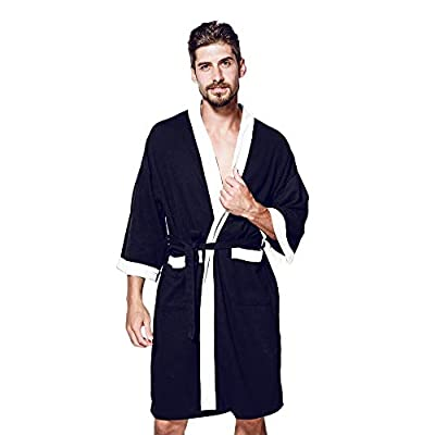iLOOSKR Fashion Men's Pajamas Long-Sleeved Large Size Stitching Pocket Satin Long Bathrobe Robe