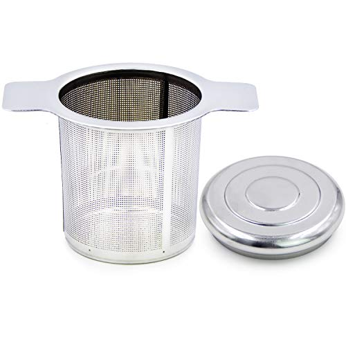 TOSSOW-18/8 stainless steel tea infuser Tea Strainer Water Filter with Double Handles for Hanging on Teapots Mugs Cups to steep Loose Leaf Tea and Coffee Cold Brew Coffee Maker FDA Approved - Teapot Handle Double