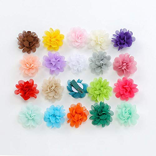 Jingling Chiffon Lined Hair Bows Clips Flowers for Teens Girls Babies Toddlers (2.4 Inch, 20 Pcs)