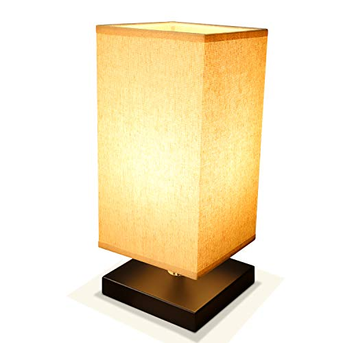 Bedside Lamp Table Desk Lamp, Acaxin Wood Minimalism Lamp with Unique Fabric Shade, Nightstand/End Table Lamp, Bed Lamps for Bedroom/Living Room ()