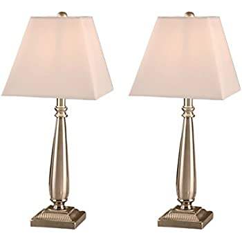 Brushed nickel table lamp with square white shades set of 2 table lamps