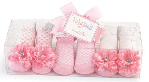 Mud Pie Baby Buds Decorated Cotton Socks, Pink,