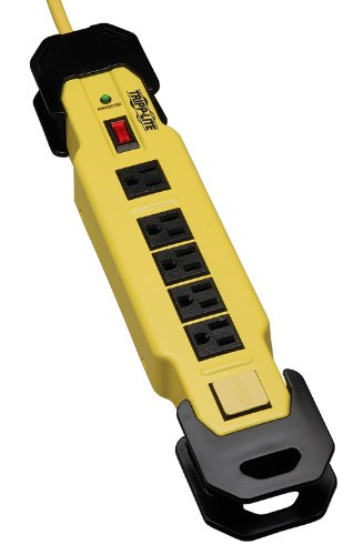 (Tripp Lite 6 Outlet Industrial Safety Surge Protector Power Strip, 15ft Cord, Cord Wrap & Hang Holes, Metal, Lifetime Limited Warranty & $75K INSURANCE (TLM615SA))