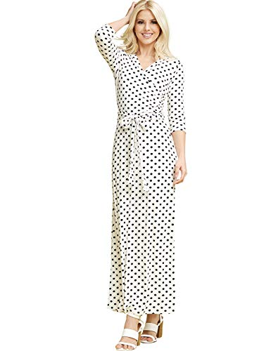 CLOVERY Women's Casual Faux Wrap Long Floral Maxi Dress 3/4 Sleeves IVORYBLACKDOT XS