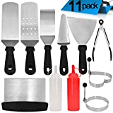 Roffel Griddle Accessories - 11 Pcs Professional Heavy Duty Stainless Steel BBQ Spatula Grill Tool Set for Flat Top Cooking, Camping and Tailgating