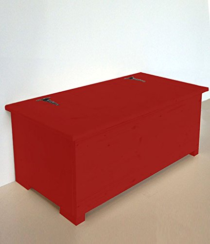 Amico Legno Cassapanca in multistrato con cerniera esterna Cod 56 120x45x47Smalto Ad Acqua Colore Rosso