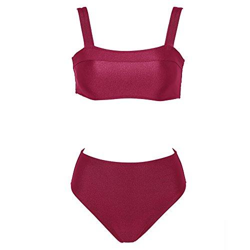 ca9b027804c80 Dixperfect Women s Square Neck Bandeau Two Pieces Bikini High Waisted  Swimwear Removable Padding (S