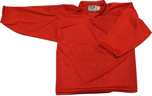 (TGM Skateboards Mens Hockey Jersey AARONS Solid Color All RED 3 (Practice) Size Medium)
