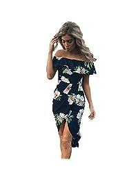 FANTIGO Womens Floral Print Dresses Ruffle Off Shoulder Slit Maxi Chiffon Dress