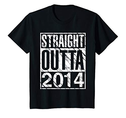 Kids Straight Outta 2014 Funny 5th birthday T Shirt 5 Years Old