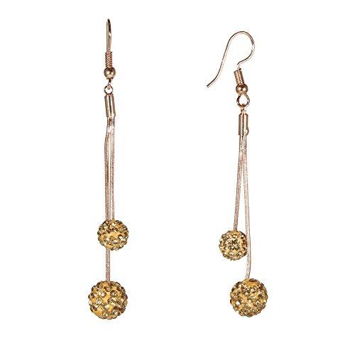 Chain Hook Earrings (Fashion Unique Pink Gold Drop Earrings Ball Sphere Rhinestone Crystal Elegant Buddhist Shambhala Jewelry (Fenugreek Gold))