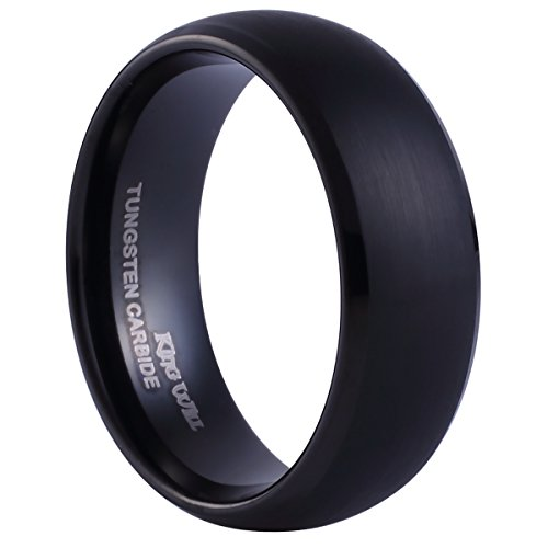 King Will Black Tungsten Ring 8mm Brushed Matte Finished Domed Design Wedding Band(10)