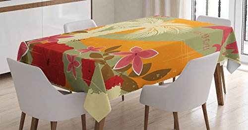 - Hawaiian Decorations Tablecloth by Ambesonne, Aloha Vintage Style Print Colorful Swirl Background Dolphins Palm Trees Flowers , Dining Room Kitchen Rectangular Table Cover, 52 X 70 Inches, Red Mustard