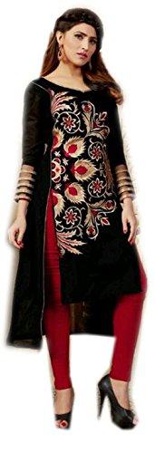 jayayamalaLadies noir coton de soie brodé tunique blouse chemise casual wear