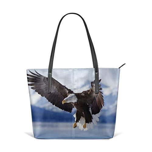 - King Dare Bald Eagle Women Fashion Handbags Tote Bag Shoulder Bag Top Handle Satchel - Microfiber PU Leather