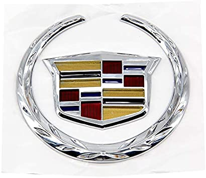 Guzetop 3D 4 Rear Chrome Wreath Crest Logo Emblem Badge Sticker fit for Cadillac