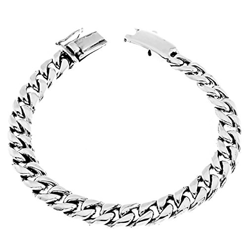 Length 8 8mm Wide Curb Chain Bali Handmade 925 Sterling Silver Bracelet, 7-9'' by FifiRose
