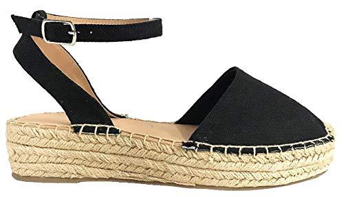- SODA Fiesta Womens Casual Espadrilles Trim Rubber Sole Flatform Studded Wedge (Black, 9)