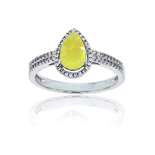 - Sterling Silver Rhodium 0.20 CTTW Round Diamond & 8x5mm Pear Cut Lemon Quartz Halo Ring