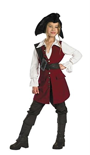 Disguise Girls Elizabeth Swann Pirate Costume Child 4-6X Red and White