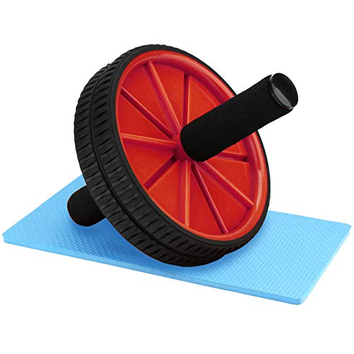 Reehut Wheels With Knee Pad - The Exercise Wheels with Dual wheels and Comfy Foam Handles - Easy Assembly, Great for Abdominal Workout(Red)