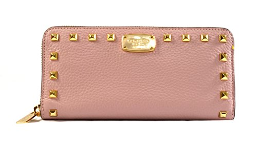Wallet Clutch Continental (Michael Kors Jet Set Item Studded Leather Zip Around Continental Wallet Clutch, Blossom)