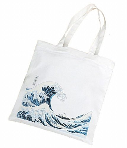 POJ Japanese Ukiyo-e Pattern Shoulder Bag [ Color White ] Japan Harajuku Fashion Style Cosplay (Cosplay Store Near Me)