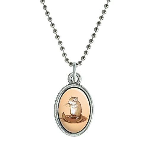 Gerbil Oval Pendant with Chain