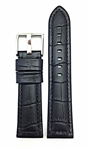 24mm Black Panerai Style Genuine Leather Watch Band | Square Crocodile Alligator Grain Replacement Wrist Strap that brings New Life to Any Watch (Mens Standard Length)