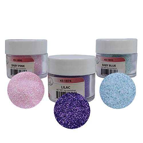 - Techno Glitter - 3-Color Assortment: Baby Pink, Baby Blue & Lilac