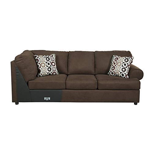 Ashley Furniture Signature Design – Jayceon Right Arm Facing Sofa – Sectional Component Only – Java Brown For Sale