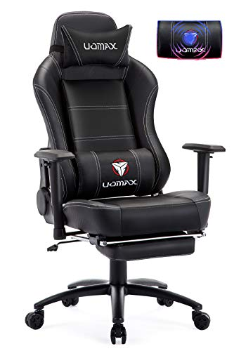 UOMAX Gaming Chair Reclining Rocking Office Chair for Computer, Racing Style Office Chair Recliner with Footrest and Massage Lumbar Support, PU Leather E-Sports Game Seat for Gamer. Black