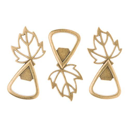 Ella Celebration Gold Leaves Wedding Favors for Fall Autumn Leaf Bottle Openers (Gold)