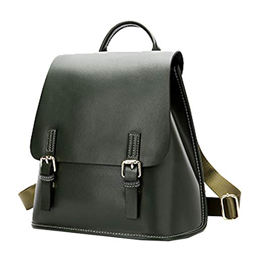 Heshe Women's Leather Backpack Casual Daypack Style Flap Backpacks for Ladies (Dark Green)