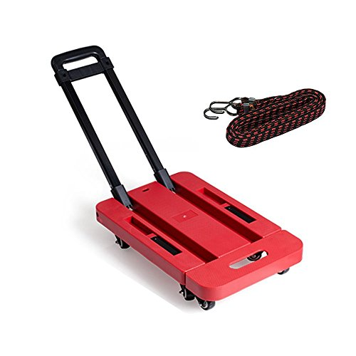 SUPOW Folding Hand Truck and Dolly, 6 Wheels 440 lb Load Foldable Luggage Cart Hand Collapsible Platform Trucks with Free Rope for Shopping, Delivery Cargos, Moving House, Travel Ect. (Red) by SUPOW