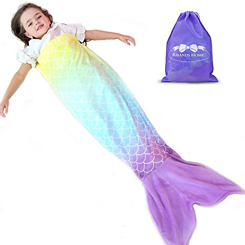 RIBANDS HOME Cozy Mermaid Tail Blanket For Kids And Teens Soft Flannel Fleece Wrapping Cover With Colorful Ombre Fish Tail – All Seasons Plush Sleeping And Napping Coverlet (Ages (Napping Plush)