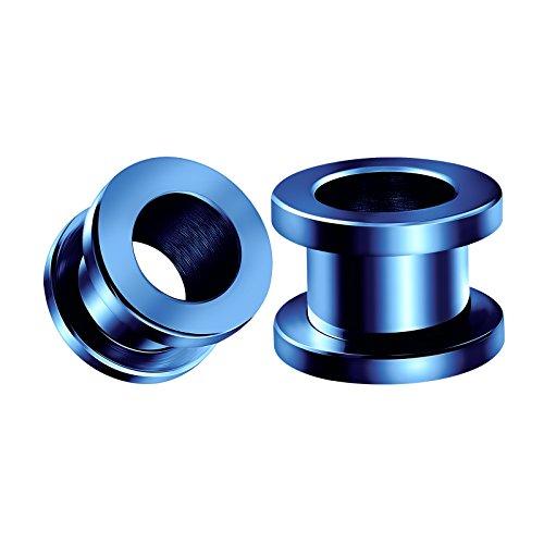 Jewelry Piercing Plugs - BIG GAUGES Pair of Screw 316L Surgical Steel 00g Gauge 10mm Blue Piercing Jewelry Stretcher Ear Plug Earring Lobe Tunnel BG0133