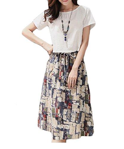 Doufine Womens Retro Linen Cotton Two-Piece Suit Printing Comfort Short Skirts White XL (Soft Doudou Toy)