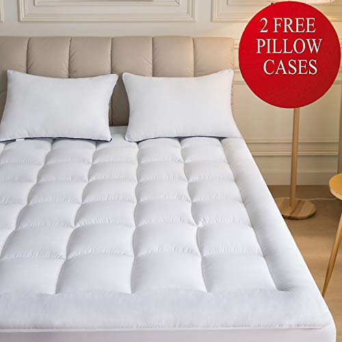 Mattress Topper Queen 2 Pillow Cases  Plush Down Alternative Pillow Top 60x80 Quilted Fitted Skirt Protector Mattress Pad Reviver Enhancer Deep Pocket Fits 8-21 Inches Soft White Bed Cover