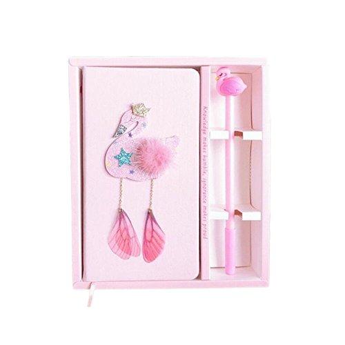 Toshine Flamingo Journal Gel Pen Set Notebook, Kids Diary Birthday Gift Box Sketchbook Handmade Portable Notepad Set for Girls (Flamingo No. 2)