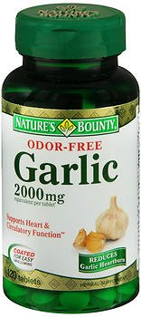 Nature's Bounty Odor Free Garlic 2000 mg Tablets - 120, Pack of ()